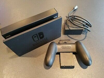 Genuine OEM Nintendo Switch Charging Dock w/ Power Cable Controller Grip Bundle