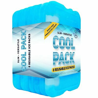 Ice Pack for Lunch Box or Coolers - Freezer Packs (Set of 8)