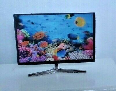 Dollhouse Miniature Flat Screen Television T V Ocean Fish Picture 1:12 scale
