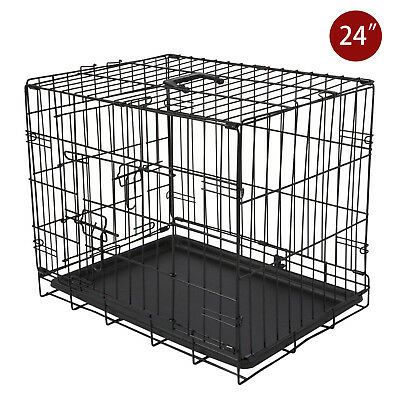 24'' Black Dog Cage Small Cat Puppy Pet Training Carrier Folding Metal Crate