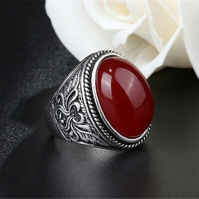 Fashion Women Oval Natural Stone Ring Gothic Metal Ring Jewelry Gift shan