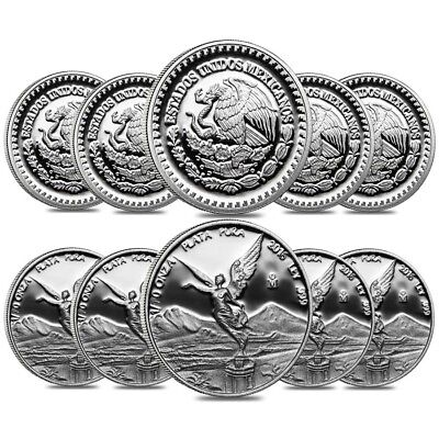 Lot of 10 - 2016 1/10 oz Mexican Silver Libertad Coin .999 Fine Proof (In Cap)