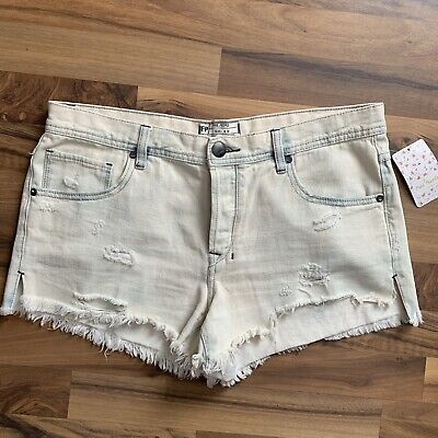 033d429498 NWT Free People Ripped Denim Shark Bite Shorts Size 30 Cutoffs Jean High  Rise
