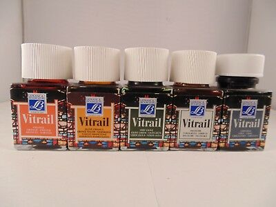 Lefranc & Bourgeois Vitrail Stained Glass Effect Translucent Paint 50ml 5 Asstd
