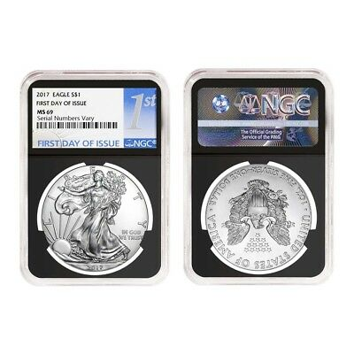 Lot of 2 - 2017 1 oz Silver American Eagle $1 Coin NGC MS 69 First Day of Issue