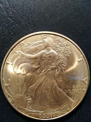 2001 American Silver Eagle 1 Troy OZ  .999 Pure Fine One Dollar Coin B