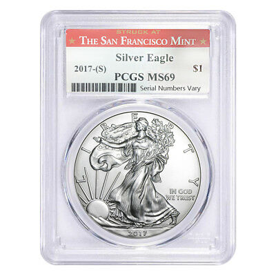 2017 (S) 1 oz Silver American Eagle $1 Coin PCGS MS 69 (SF Label)