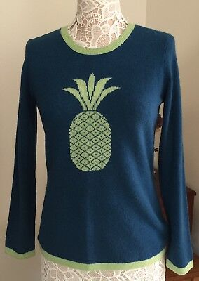 NWT Hannah Rose 100% Cashmere Color Teal/Green With Pineapple Print Sweater Sz L