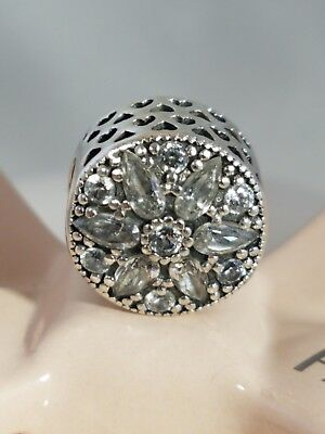 Authentic Pandora Sterling Silver RADIANT BLOOM Clear CZ Charm 791762CZ