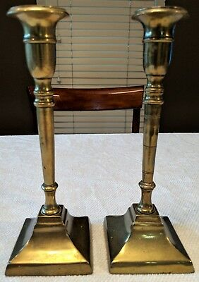 Two Antique Solid Brass Candlestick -  I Believe, Handmade - Estate Sale Find!