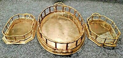 """Three Railed Solid Brass Serving Trays with Handles 10 x 7"""" Across"""
