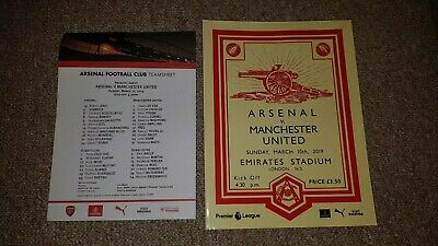 Arsenal V Man Utd 10th March 2019 Match Programme And Team Sheet Mint Condition
