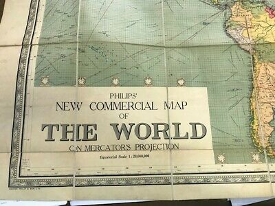 Philips New Commercial Map of the World. Linen-backed. c.1920 League of Nations