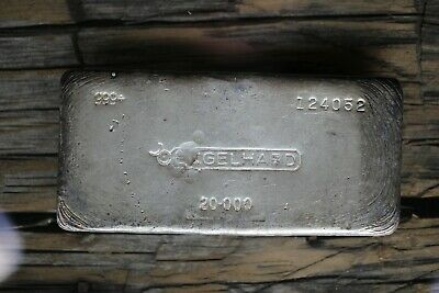 20 OZ Vintage ENGELHARD Poured Silver Bar Scarce 6th Series <1500 Mintage