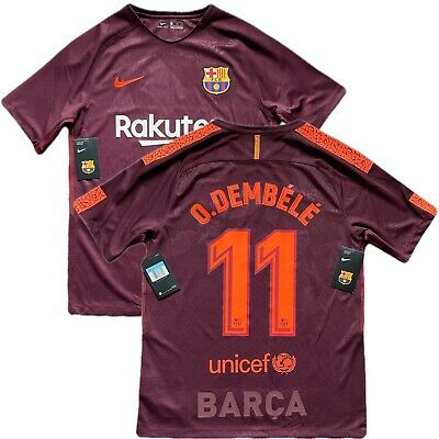 6f9c63a9754 2017 18 Barcelona Third 3rd Jersey  11 Ousmane Dembele Medium Nike France  NEW