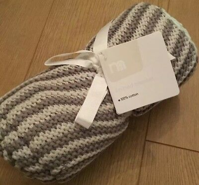 Mothercare Lullaby Moon Striped Knitted Blanket Size 70cm X 90cm ** Brand New **