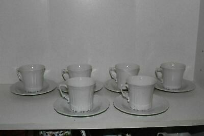 6 Tirschenreuth Baronesse White Cup & Saucer Sets-Germany