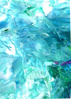 ACEO Turquoise + White Feathery Abstract Acrylic Pour Art Painting Penny StewArt