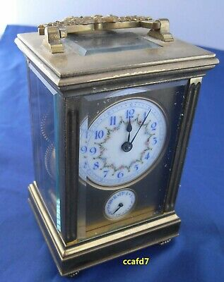 "ccafd, Antique French 6"" Brass  Carriage Clock w/Alarm & Fancy Dial, running"