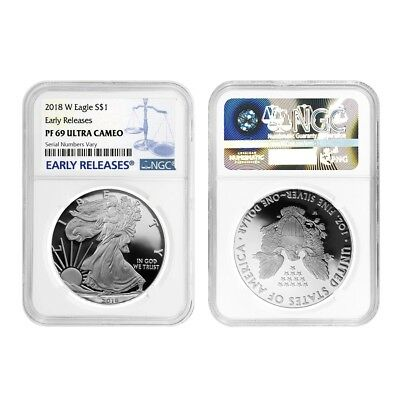 Lot of 2 - 2018-W 1 oz Proof Silver American Eagle NGC PF 69 UCAM Early Releases