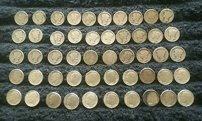 90% Silver Roll Mercury, Roosevelt Barber Dimes 50 Coins $5 Face Mixed Dates