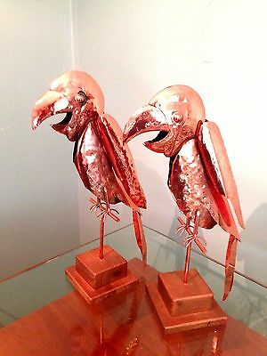 Vintage Copper Pair Of Two Parrots Macaws Birds Artist Hand Made & Hammered