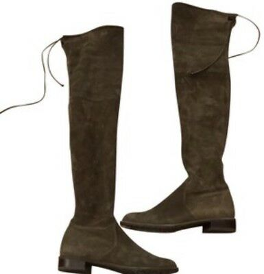 836dd7d474c STUART WEITZMAN Kneezie Olive Stretch Suede Leather Below the Knee Boots  7.5 NEW