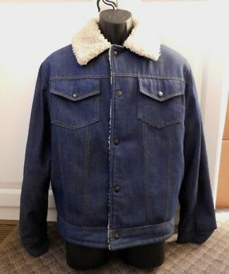 c0c2205fc VINTAGE MEN'S JCPENNEY Heavy Denim Sherpa Lined Western Ranch Style Jacket  Sz M