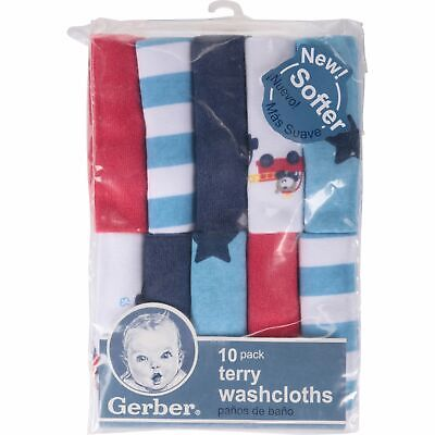 Gerber Baby Boys 10 Pack Terry Washcloths NEW Adorable Firetruck, Stars, Stripes