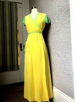 6d475217ca1e 60'S/70'S VINTAGE YELLOW Terry Wrap Dress Maxi Summer cover med ...