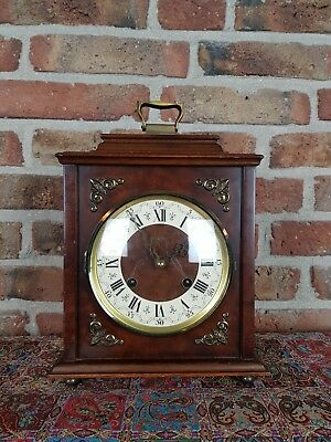 Vintage Hermle Table clock with nut-wood body from 1968