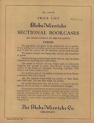 Rare 1915 Globe Wernicke® Sectional Bookcase Price List Lower Priced Black/White