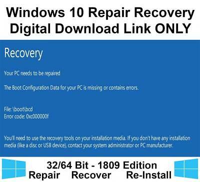 Windows 10 Home Pro 32/64 Bit Recovery Repair Restore Download Link Image ISO