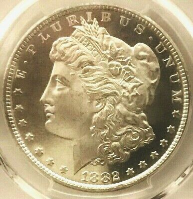"""1882-CC Morgan Dollar PCGS MS64DMPL Outstanding B&W, 20"""" Mirrors, Spiked Wing"""