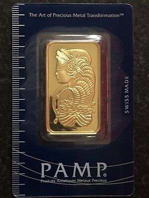 1 oz PAMP Gold Suisse Lady Fortuna Bar Sealed In Assay Certificate Card