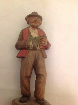 Antique Vintage Hand Carved Folk Art Man Detailed Brown Suit Red Lapels And Hat