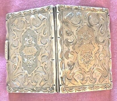 Antique English Birmingham Sterling Silver Victorian Calling Card Case 1860