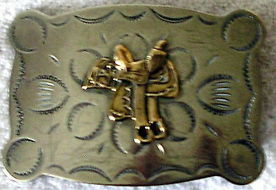 Vintage Nickel Silver Belt Buckle Justin Belt Co Saddle