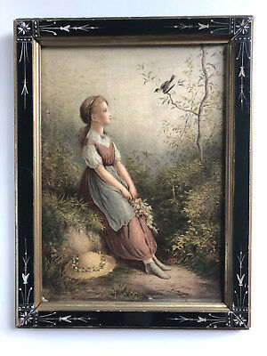 Antique 19th Century woman and bird  Lithograph Print in carved Victorian Frame