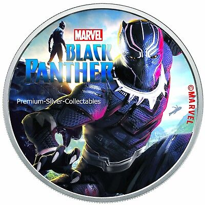 2018 Tuvalu Marvel Series Black Panther!  .9999 - 1 Ounce Pure Silver Colorized!