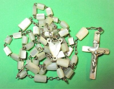 Vintage Catholic Mother Of Pearl Mop Beads & Crucifix Rosary Heart Shape Center
