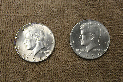 1964 & 1974 dated U.S. JFK Half Dollar Pieces, Lot of Two Coins