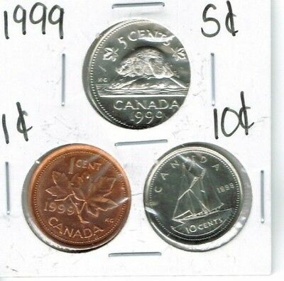 1999 Canadian Brilliant Uncirculated Three Coin 1, 5  and 10 Cent Type Set!