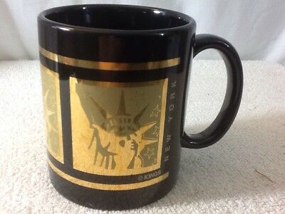 Very Nice NEW YORK Kings STATUE OF LIBERTY Black & Gold Ceramic Coffee Mug Appro