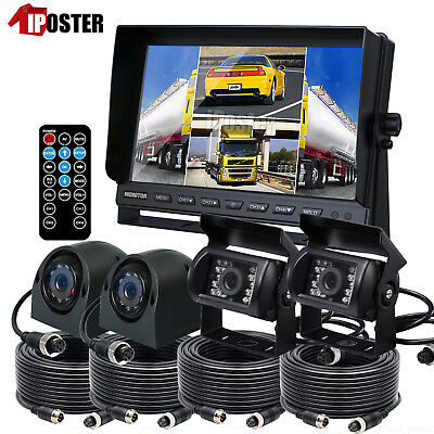 "9"" Quad Monitor DVR Video Recorder 4 PIN Trailer Truck CCD Camera Backup Camera"
