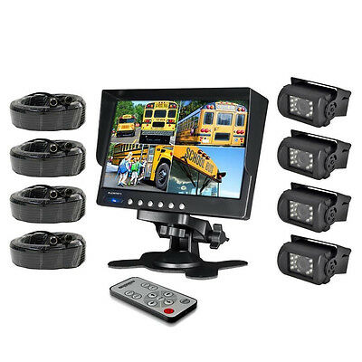 "4 Backup CCD Camera System 7"" LCD Color Quad Monitor for Bus Truck Van 4Pin 24v"
