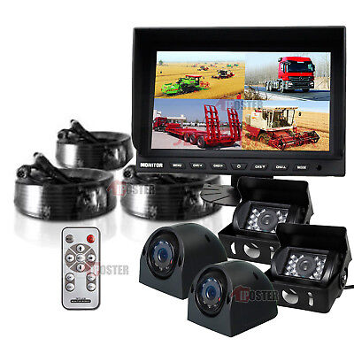 "9"" Split Quad Monitor +4x 4Pin Side Rear View IR Sharp CCD Camera 33Ft For Truck"