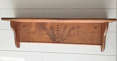 Lg Wood Primitive Country Rustic Carved Tree of Life Wall Shelf Plate Rack 30""
