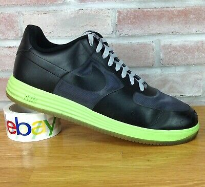 factory authentic d9c03 f2c9e Nike Air Lunar Force 1 Black Neon Gray 599839-002 Trainers Casual Mens Size  15