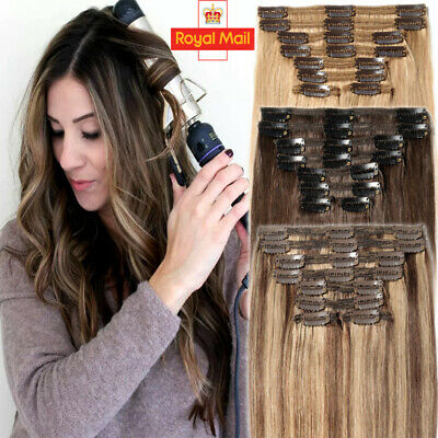 20 22 24 Thick Double Weft Clip In Real Remy Human Hair Extensions Full Head G39